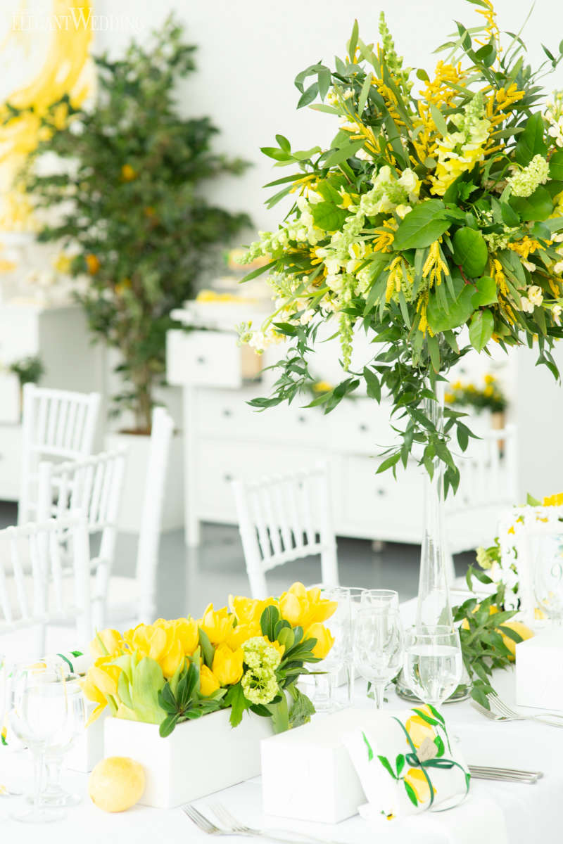 Yellow and Green Centrepieces