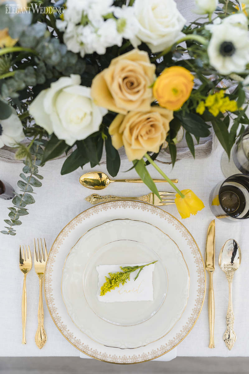 Yellow Wedding Place Setting