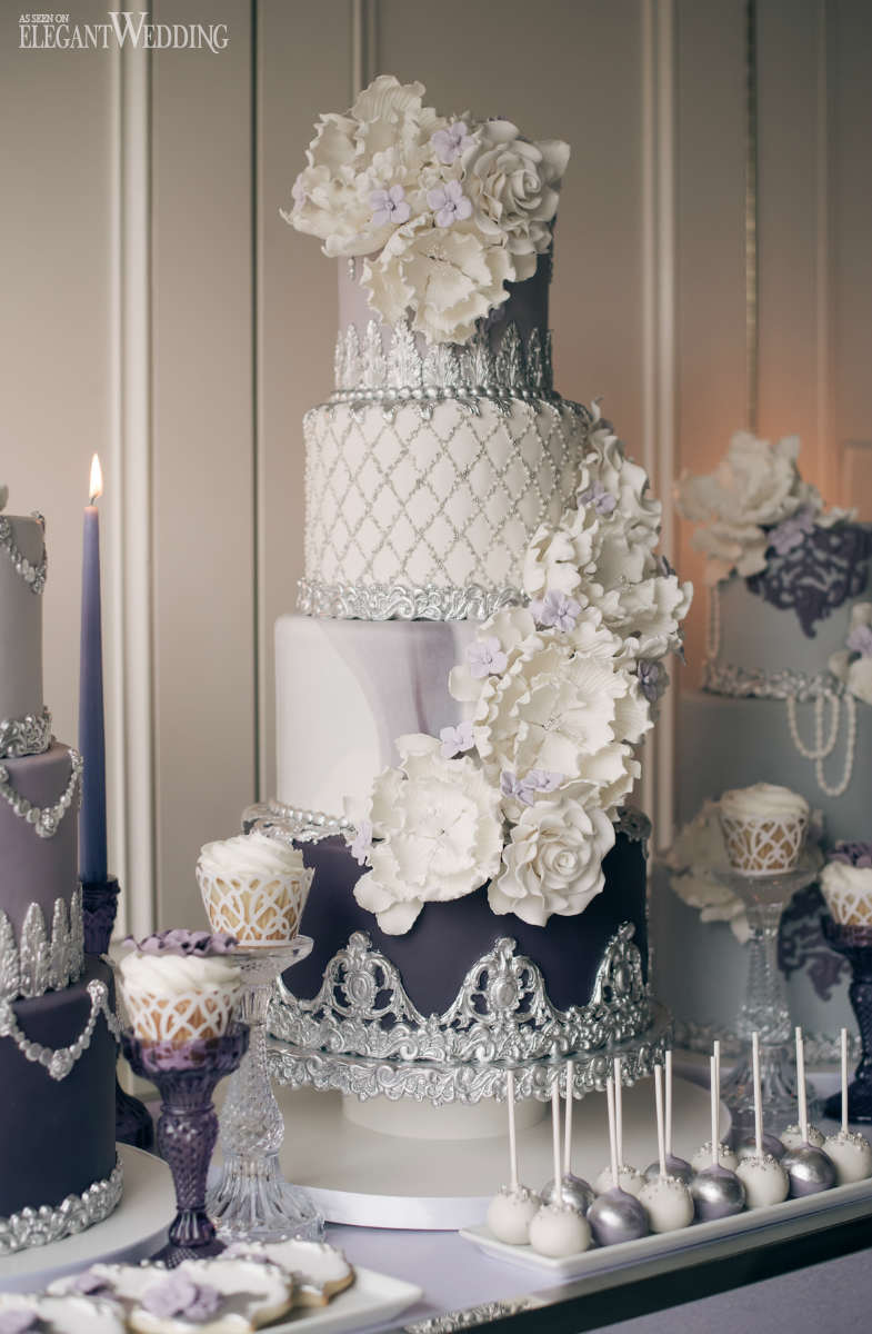 Lavender Wedding Cake and Sweets