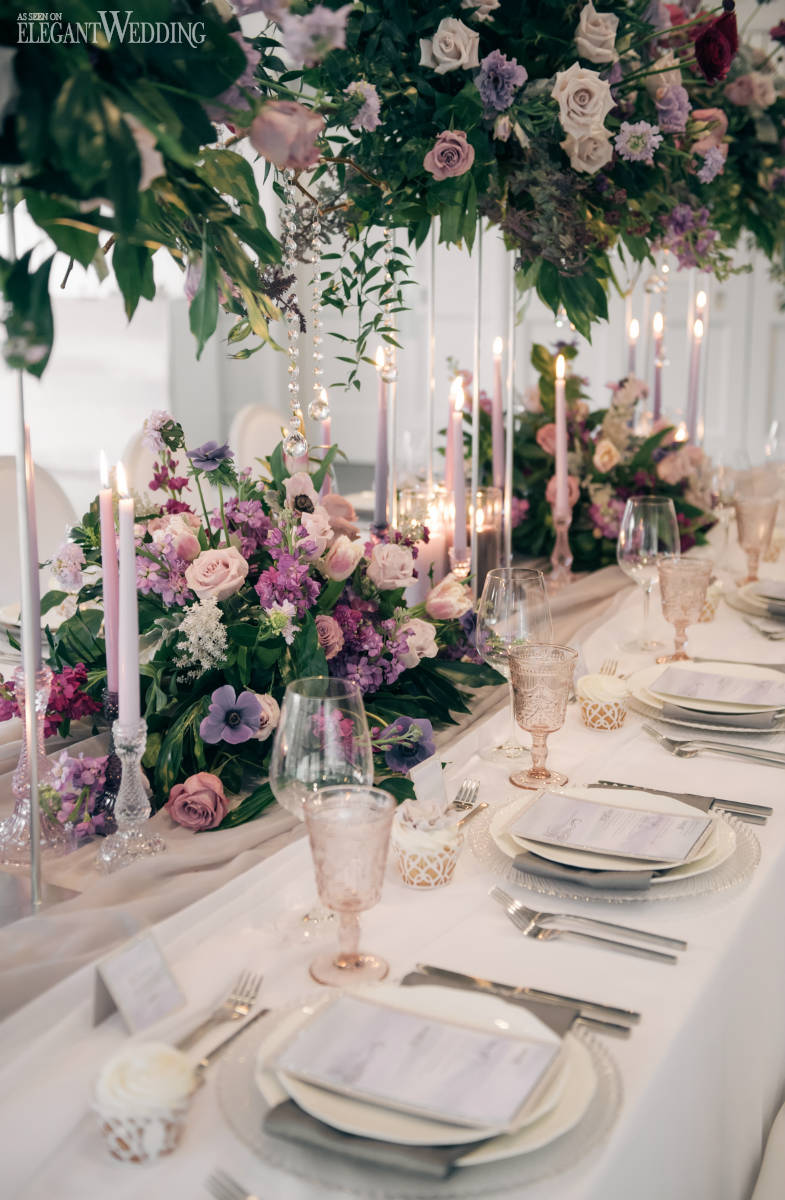 Luxurious Purple Wedding Table Setting