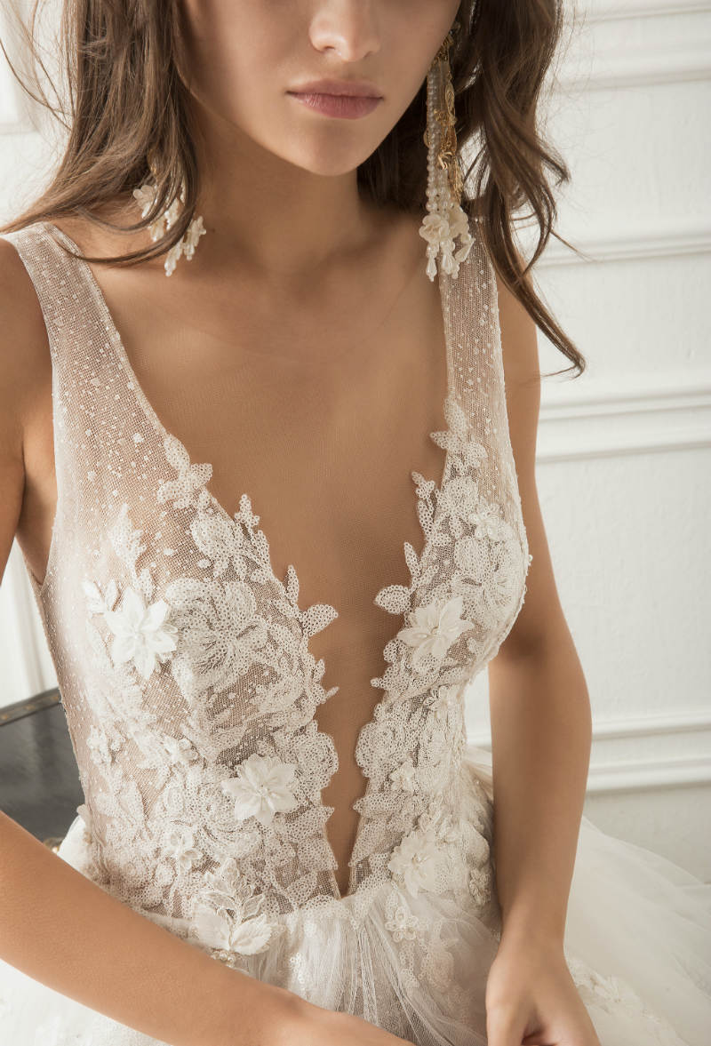 Plunging Neckline Wedding Dress