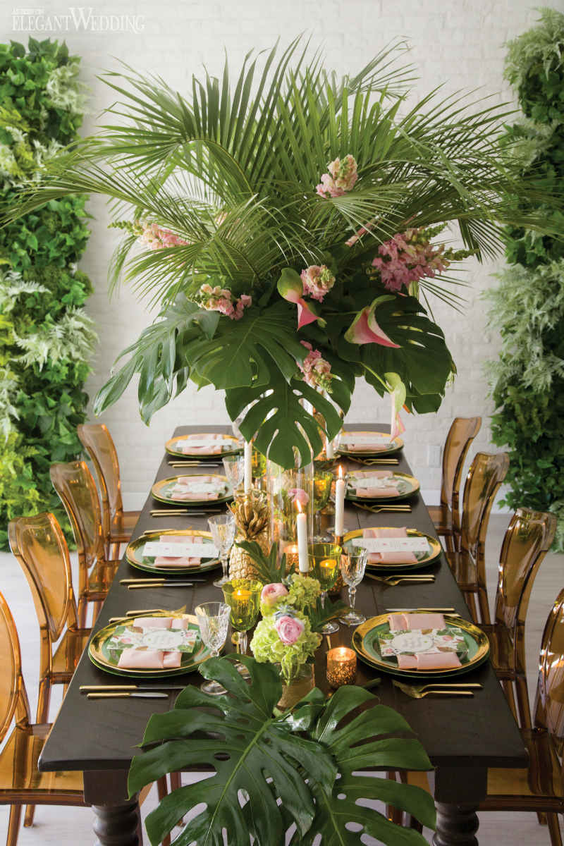 Pink Tropical Wedding Table Setting