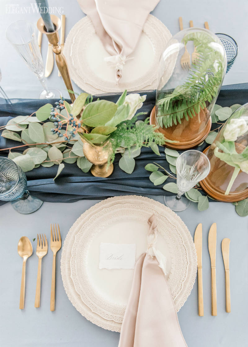 Dusty Blue Wedding Table Setting