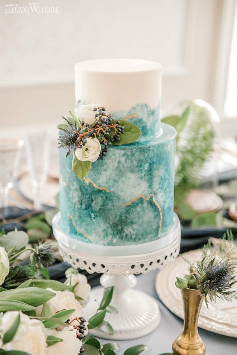 Blue Geode Wedding Cake
