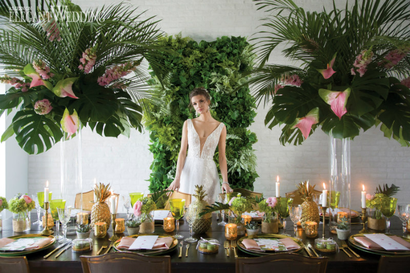 Tropical Wedding with Pineapples & Palms