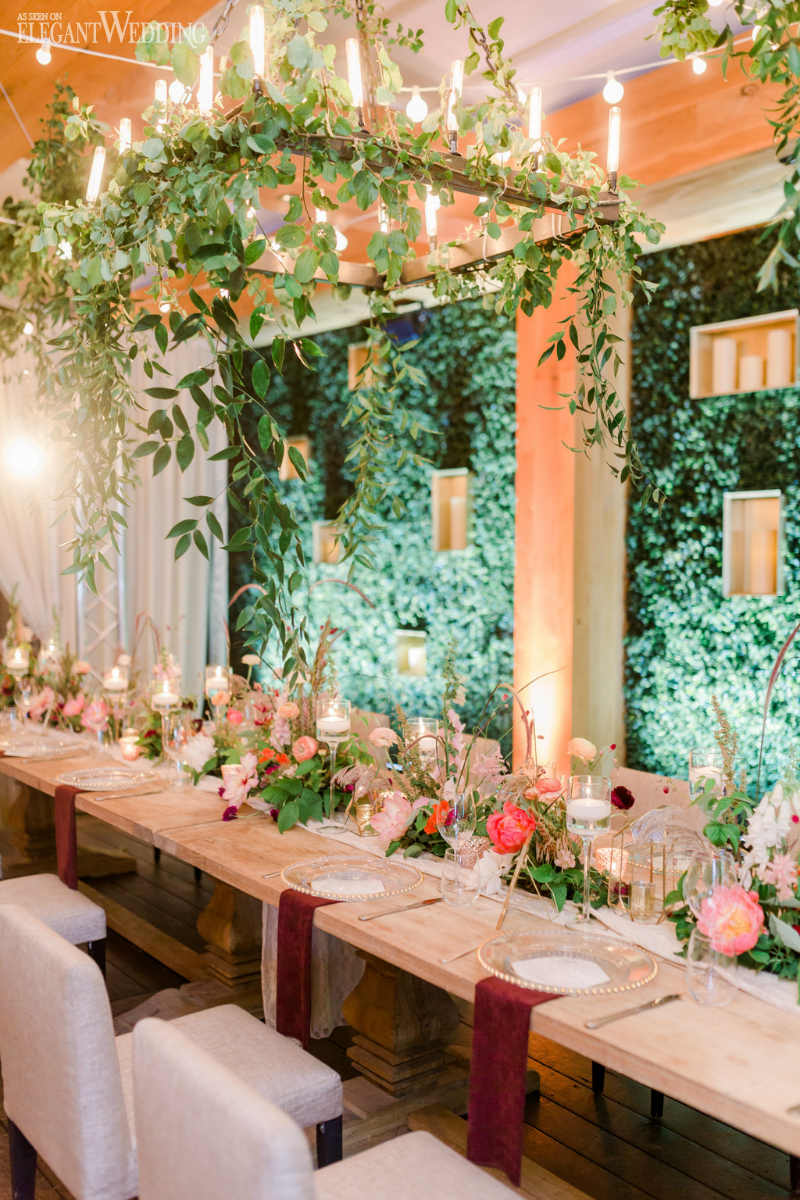 Greenery Chandelier Wedding Decor