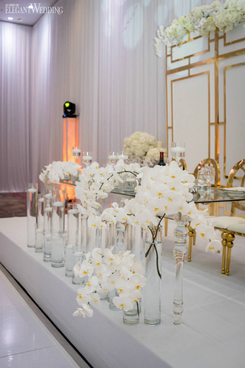 White Orchid Wedding Head Table