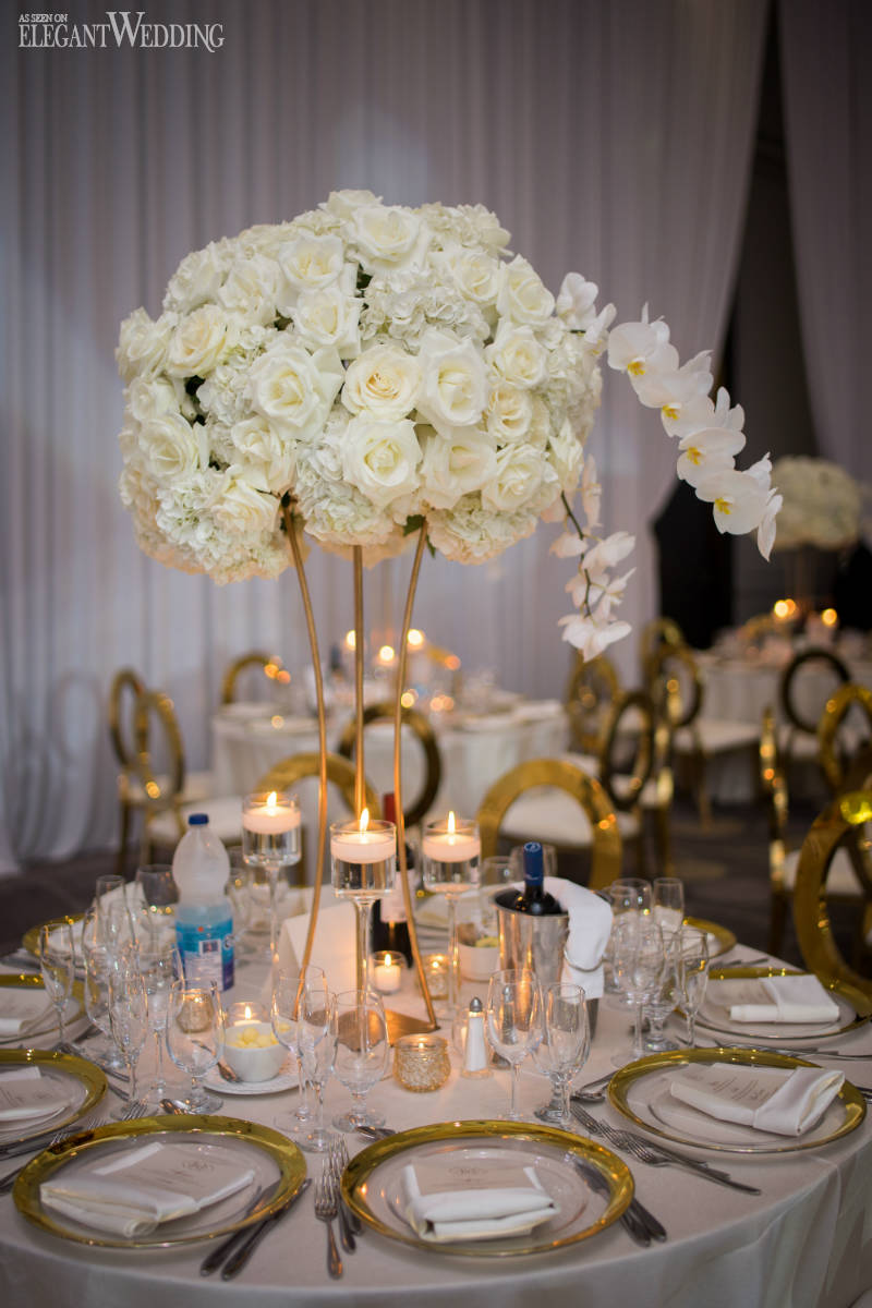 White and Gold Wedding Centrepieces