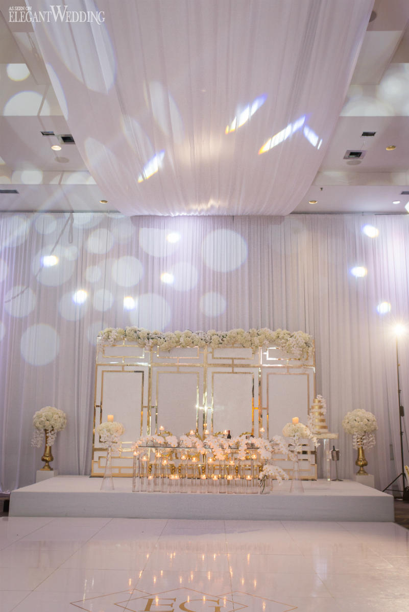 White and Gold Wedding Backdrop