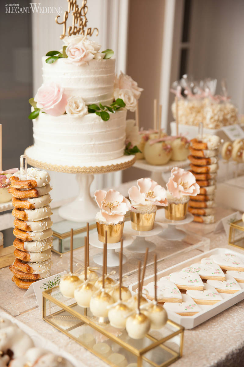 White and Gold Wedding Sweet Table