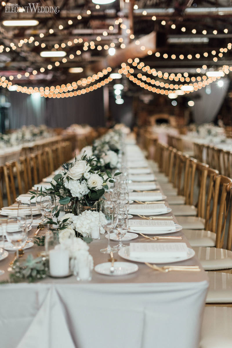 White and Grey Wedding Table Setting