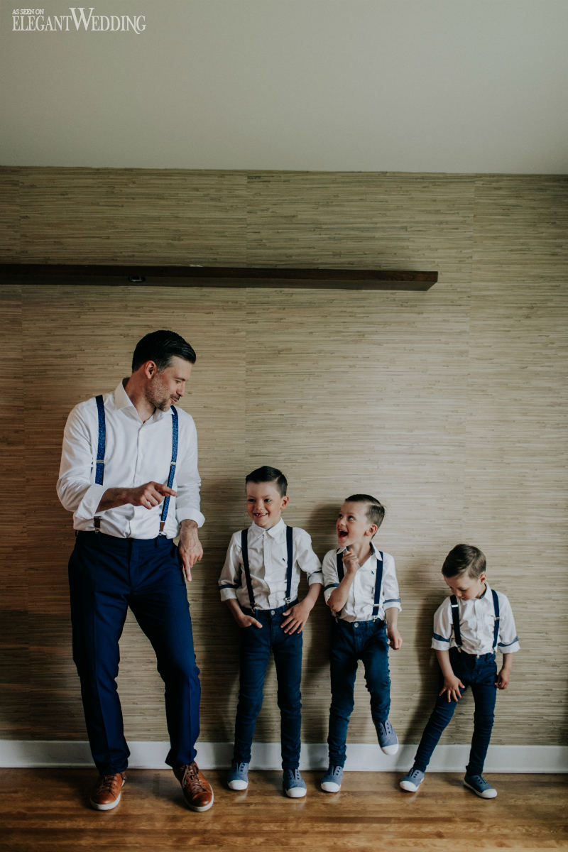 Groom and Sons in Suspenders