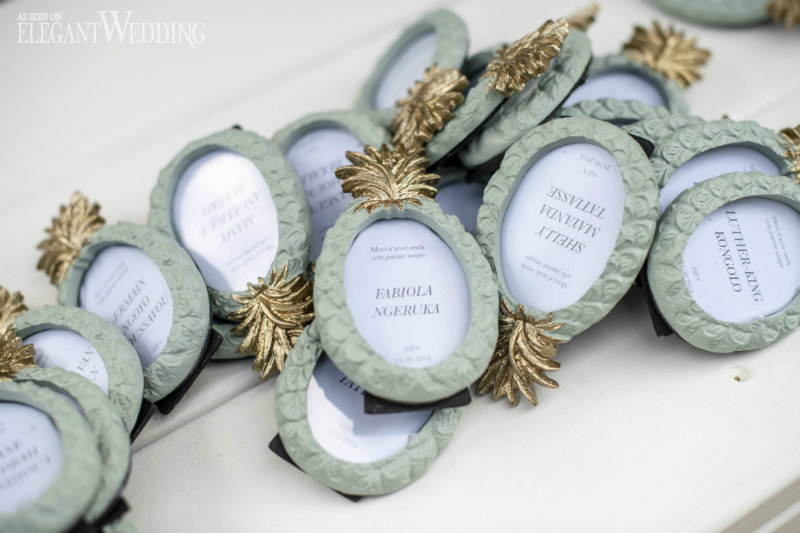 Pineapple Frame Wedding Name Cards