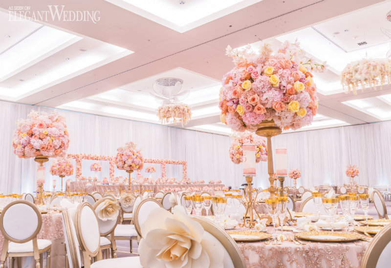 Tall Pink Wedding Centrepieces