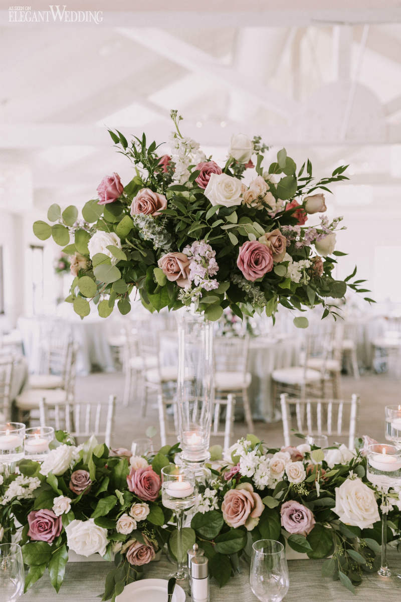 Mauve and Greenery Wedding Centrepieces