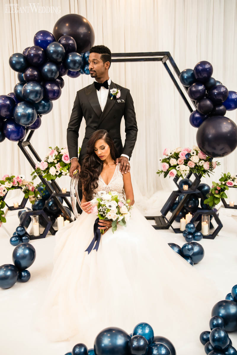 Midnight Blue Wedding Inspo with Balloons