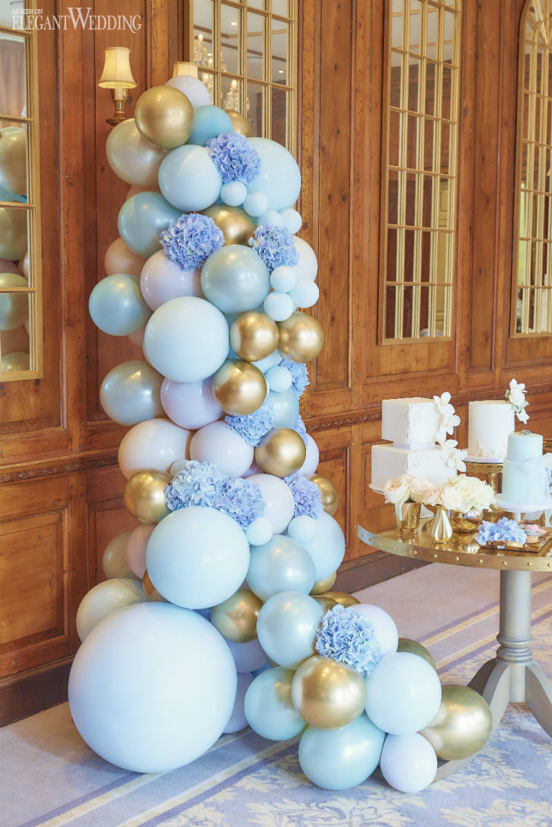 Blue and Gold Wedding Balloons