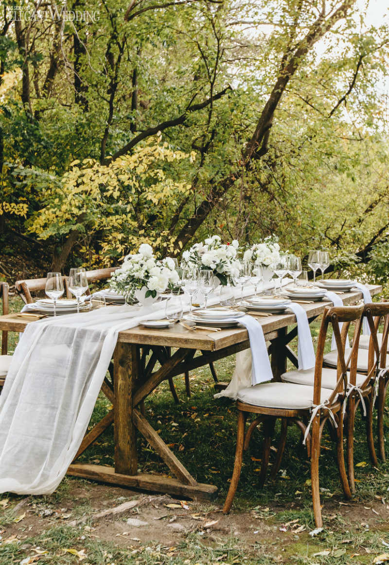 Rustic Outdoor Wedding Table Setting