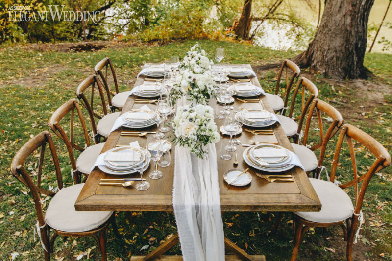 Rustic Wooden Wedding Table Setting