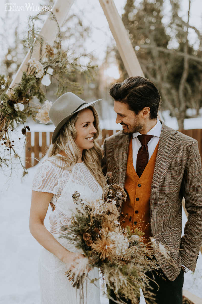 Boho Winter Wedding Ceremony