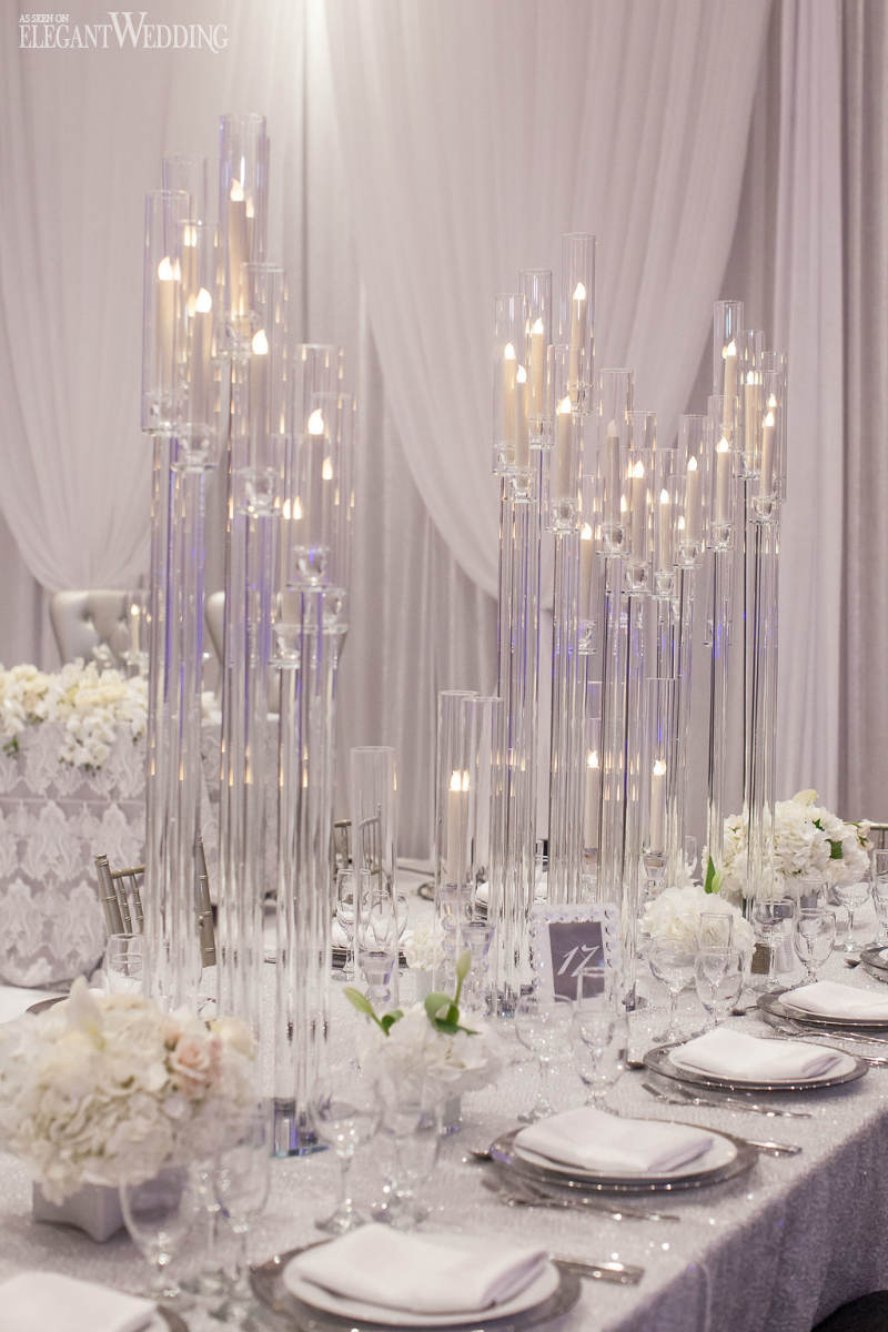 Clear Candlestick Wedding Centrepieces