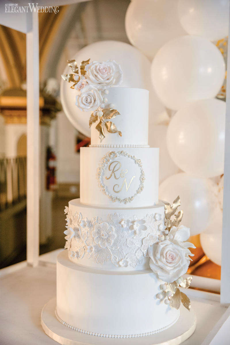 Gold Sugar Flower Wedding Cake