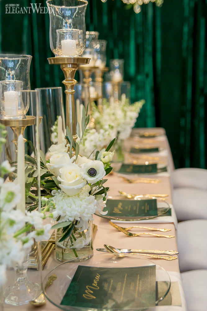 Emerald Wedding Table Setting