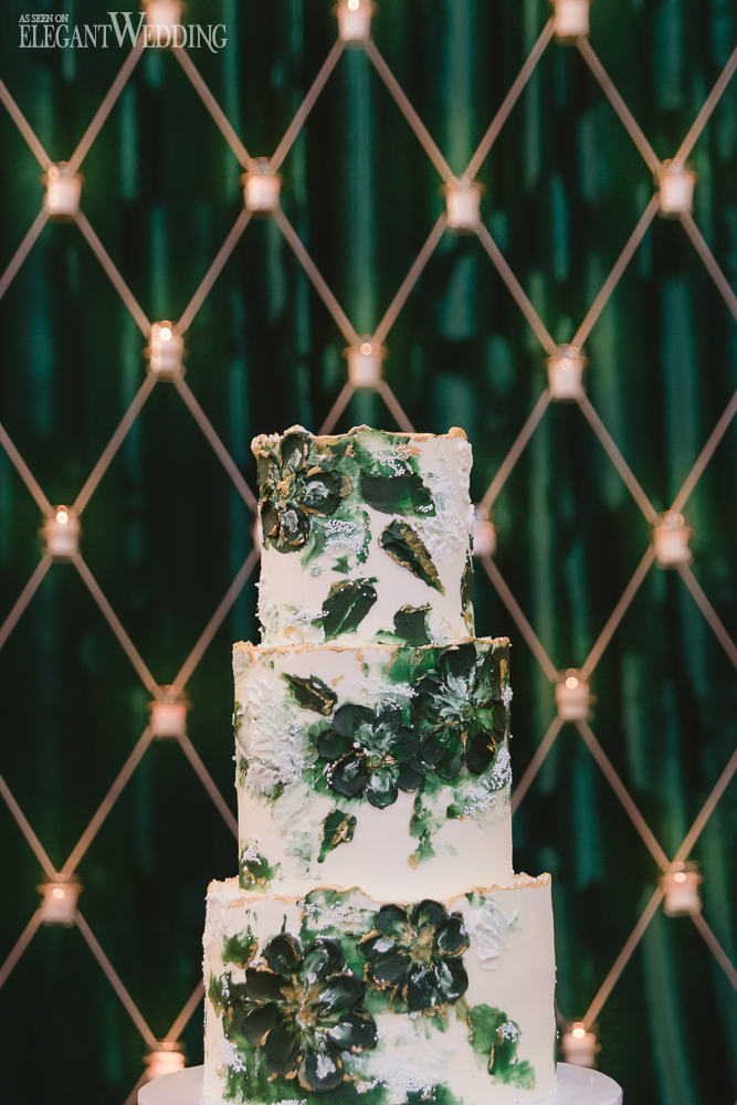 Emerald Hand-Painted Wedding Cake