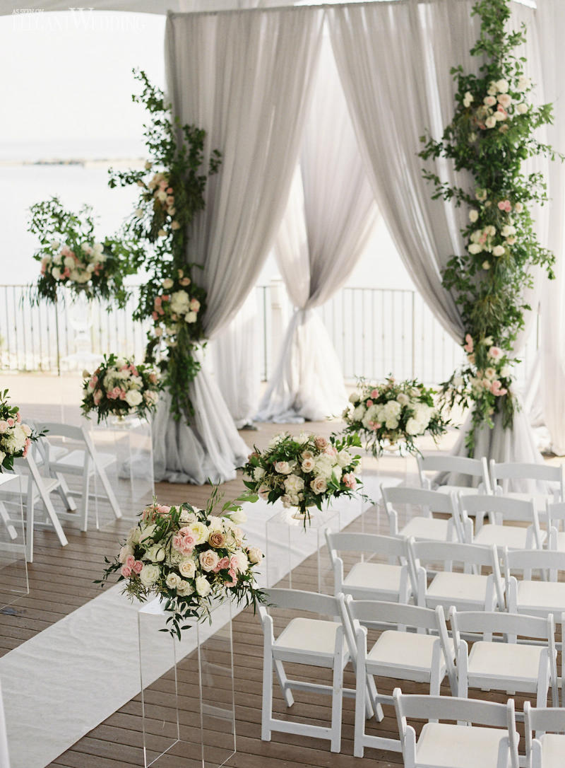 Soft Grey Draped Wedding Arch