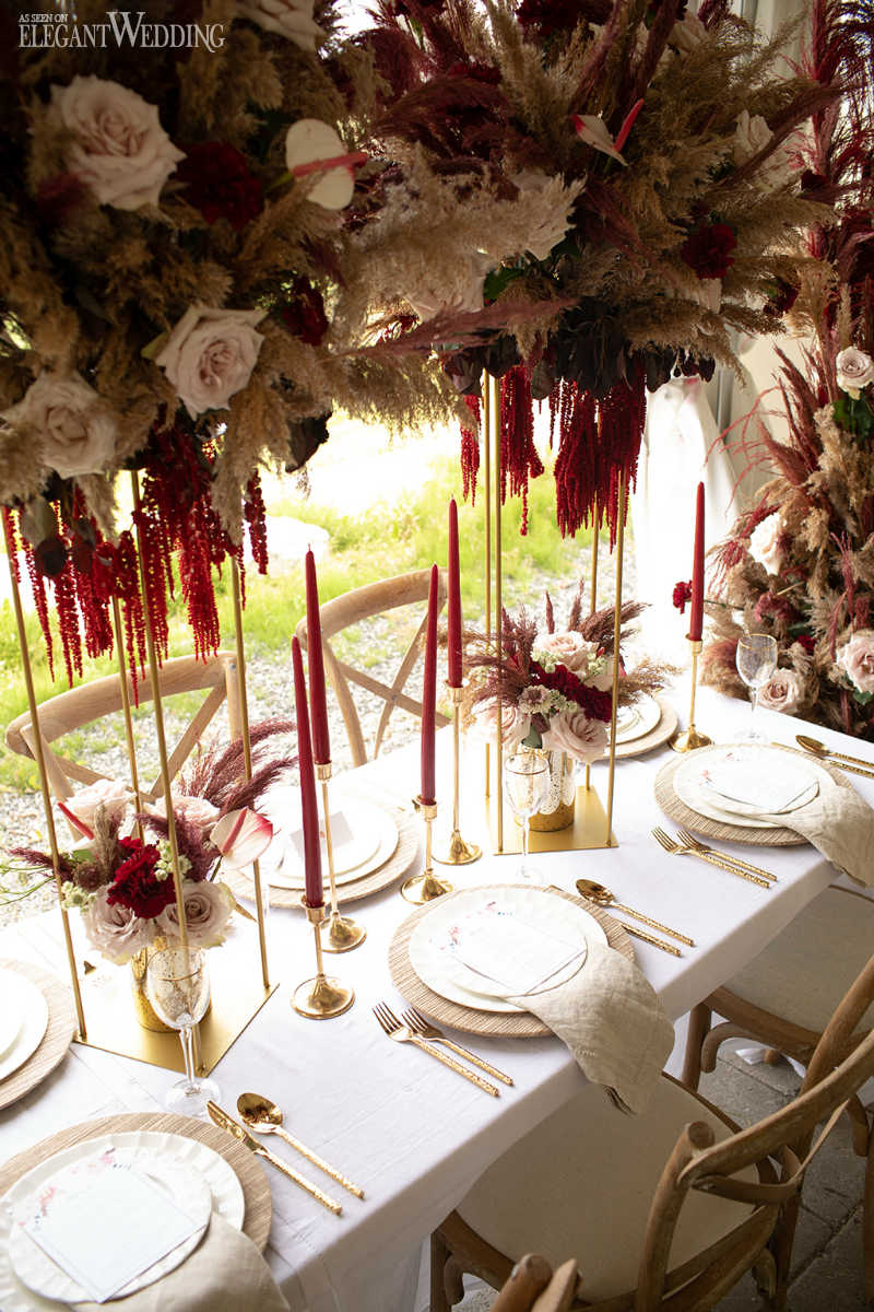 Pampas Grass Wedding Table Setting