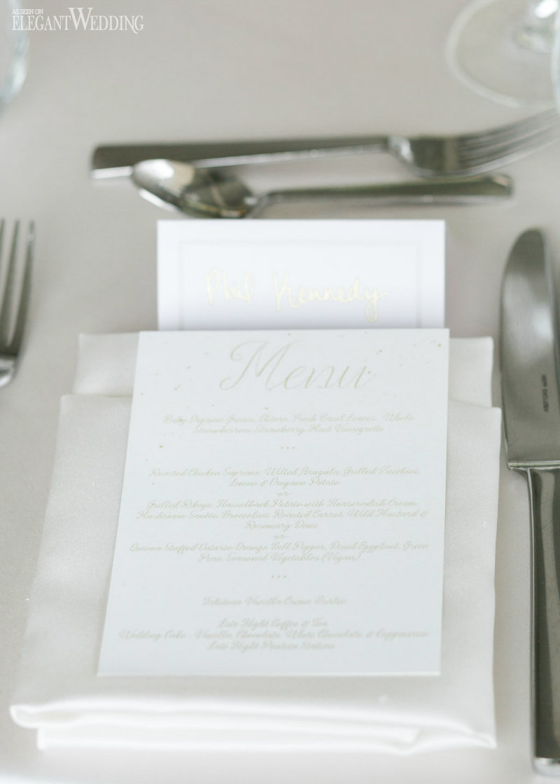 White and Gold Wedding Menu