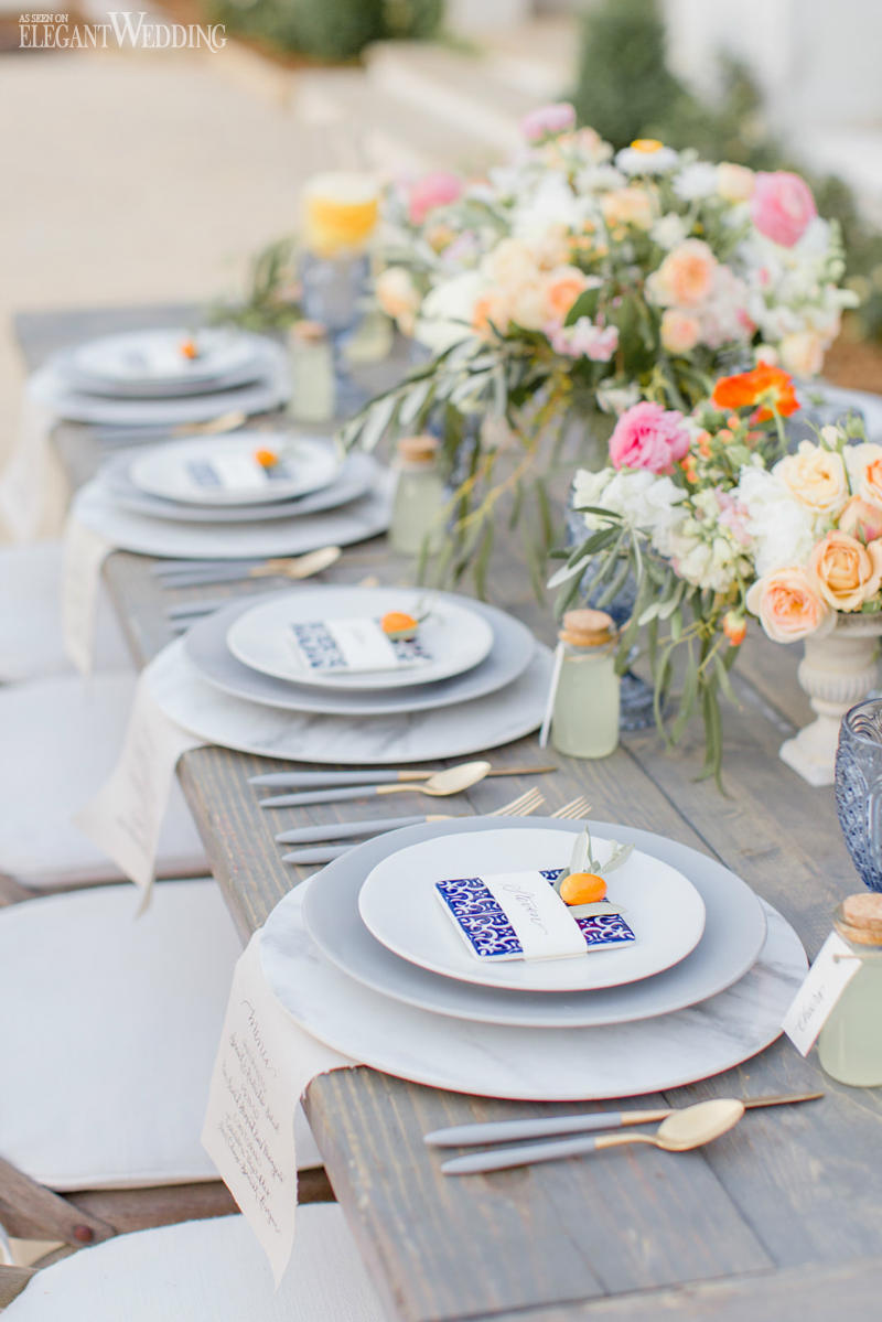 Mediterranean Wedding Table Setting