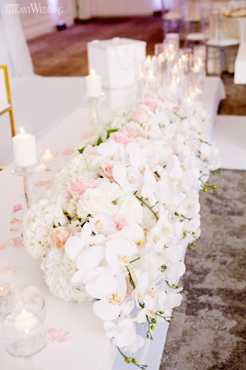 Blush and White Orchid Wedding Centrepieces