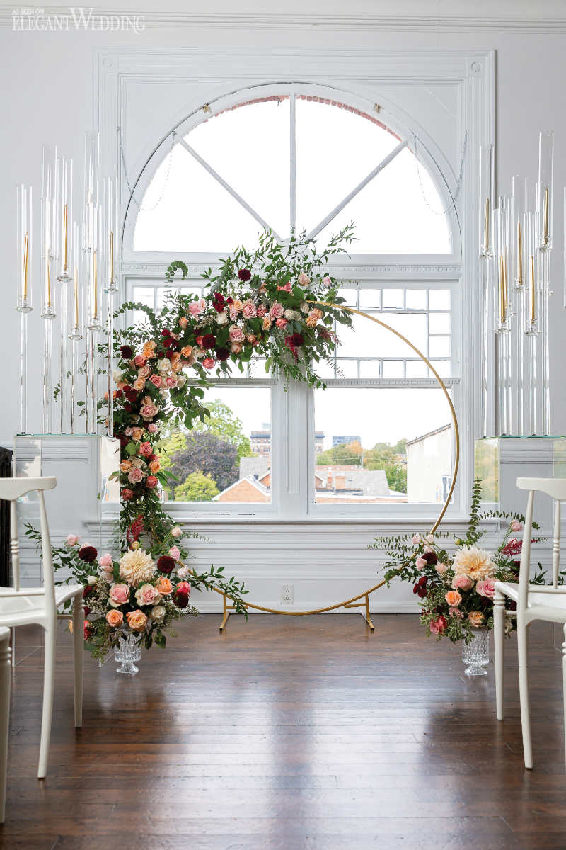 floral arch for wedding ceremony, le papillon florist