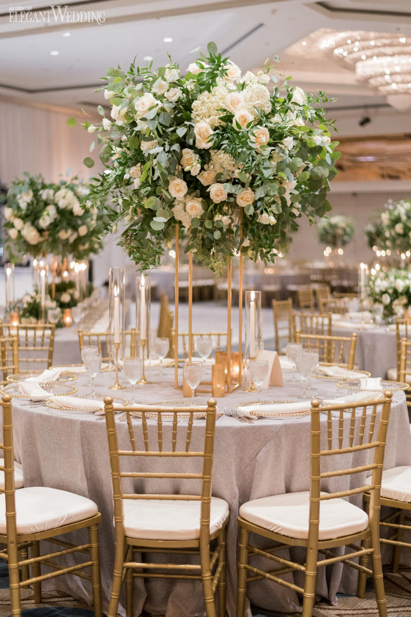 Fairytale wedding reception flowers