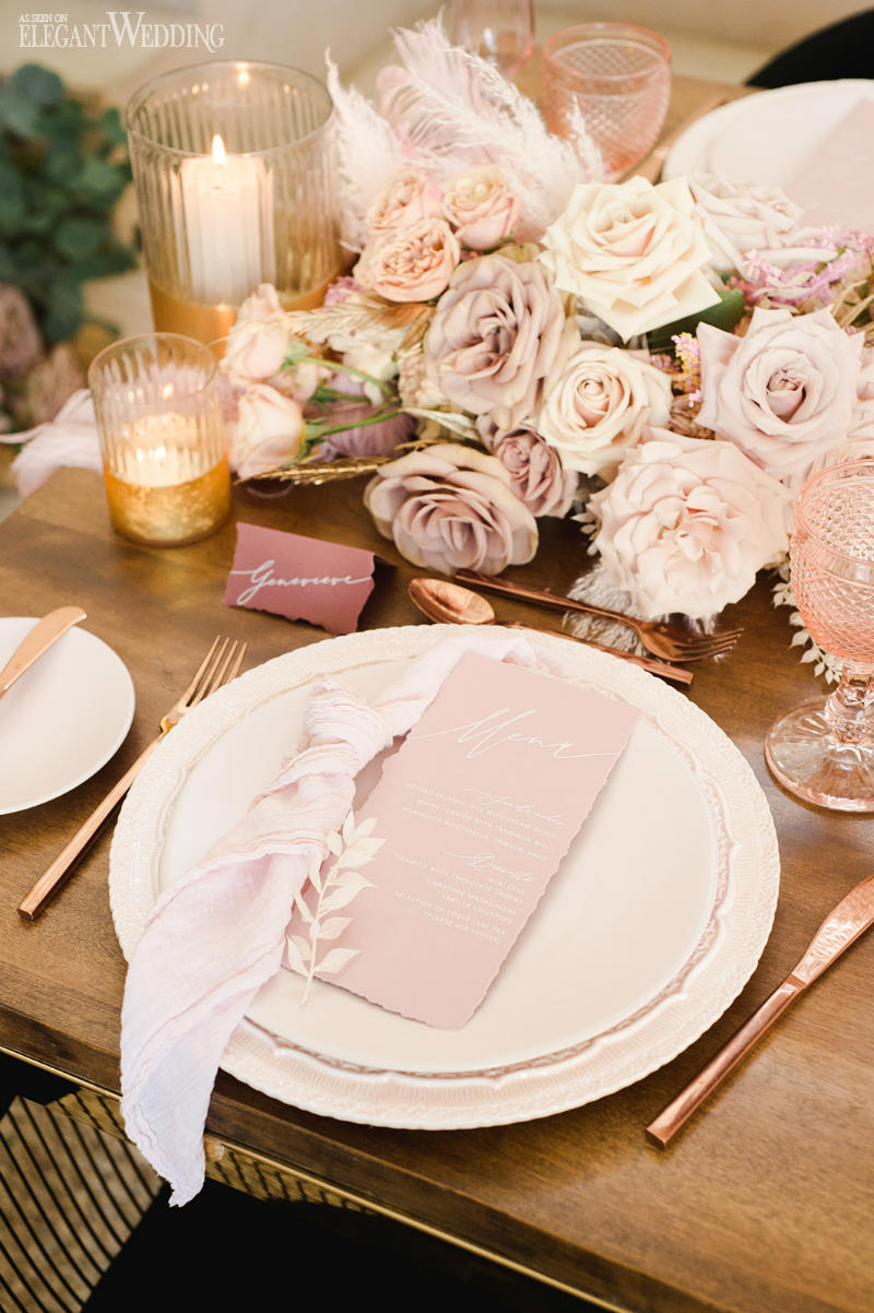 pink menu with table setting
