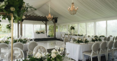 Green and white garden wedding