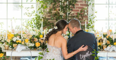 spring wedding theme yellow and green flowers and decor